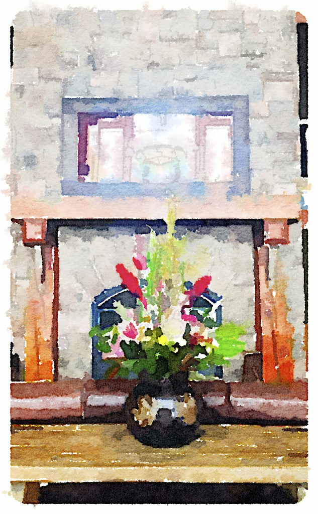 flowers in The Lodges lobby painted in waterlogue