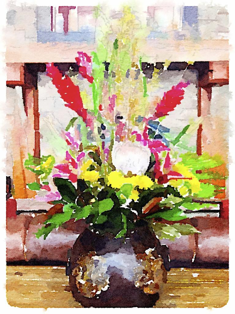 flowers painted in waterlogue