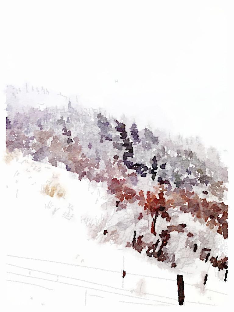 Deer Valley ski slope painted in waterlogue