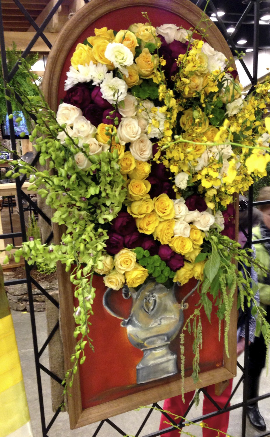 painted urn with floral display