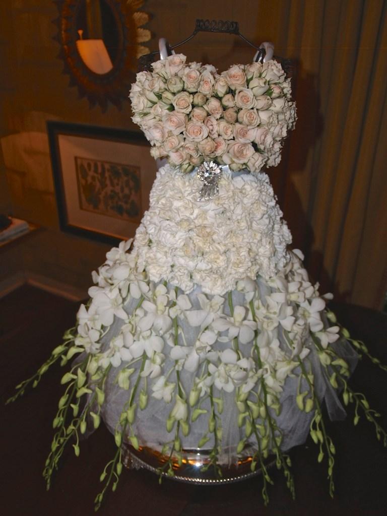 bridal gown floral arrangement