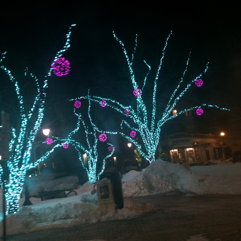 snow and lights in Portland Maine