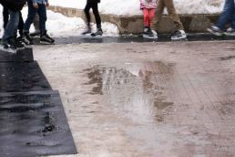 wet: melting snow