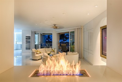 Living Room, Evening View, Wailea Condominium Renovation