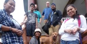 CMI Ettonaak staff with their mascot, Ginger. From left: Neine Rear, Kelly Lorennij, Junjun Jamore, David Willbanks, Richard Newman, Ronald Jorthan and Berlyann Labija. Photo Jaerin Chang.