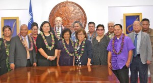 President Hilda Heine, center, joined the swearing in of the RMI National Nuclear Commission. Numerous family members and high officials attended the event that saw Chairperson Rhea Moss-Christian, and Commissioners Bill Graham and Alson Kelen take oaths of office. Photo: Office of the President.