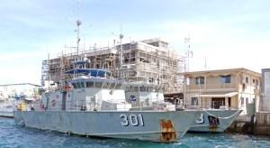 Kiribati's Teanoai patrol vessel with Sea Patrol's Lomor at RMI Sea Patrol Dock in Majuro earlier this month. At the back, Marshall Islands Marine Resources Authority's new three-story headquarters begins to take shape. Photo: Hilary Hosia.