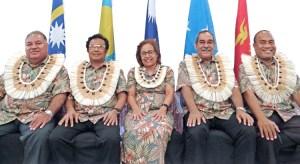 Micronesia leaders in Majuro, from left: Nauru President Baron Waqa, Palau President Tommy Remengesau, Jr., RMI President Hilda Heine, FSM President Peter Christian and Kiribati President Taneti Maamau. Photos: Hilary Hosia