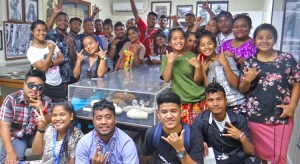 Ebeye students at Majuro's Alele Museum last week. Photo: Hilary Hosia.
