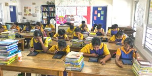 Sixth grade students at Delap Elementary School were the first in the nation to sit the annual Marshall Islands Standard Achievement Test using tablets.