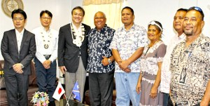 Japan Vice Minister of Foreign Affairs Iwao Horii (third from left) and Majuro Mayor Ladie Jack (fourth from left) met with Japan Embassy and MALGov council and staff Friday to discuss re-launching sister city ties between Majuro and Kawai Town in Japan. Photo: Hensen Kaisha.