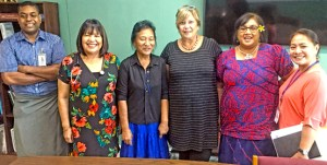 Dr. Zehavit Zivner from Israel, third from right, and Health secretary Julia Alfred, second from right, with Ministry of Health staff in Majuro. Photo: Giff Johnson.