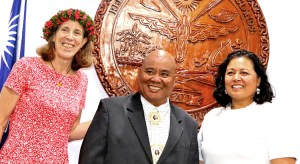 The RMI National Nuclear Commission gathered during Commissioner Holly Barker's recent swearing in ceremony, from left: Barker, Alson Kelen and Chairperson Rhea Moss-Christian.