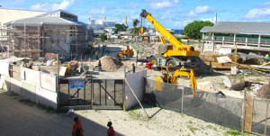 A look at the Ebeye Public Elementary School construction site. ANIL Development Inc. is building the first phase of the new school. Photo: Kwajalein Atoll Development Authority.
