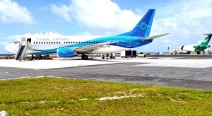 A Nauru Airlines Boeing-737 on the tarmac at Amata Kabua International Airport in Majuro. Photo: Giff Johnson.