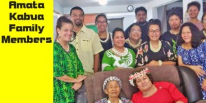 US Congresswoman Aumua Amata Coleman Radewagen with former First Lady Emlain Kabua, both seated, at the Kabua family residence in Majuro. They are surrounded by grandchildren of the nation's founding father and first President Amata Kabua and First Lady Emlain.