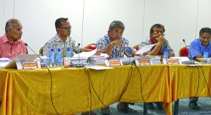 Nitijela Public Accounts Committee in action this week reviewing audits. From left, Senators Atbi Riklon, Alfred Alfred, Jr., Tony Aiseia, Vice Speaker Jejwarick Anton, and Chairman Bruce Bilimon. Photo: Hilary Hosia.