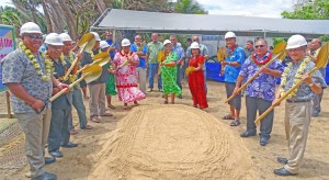VIPs joined landowners in breaking ground for a construction project that will build the first international standard track and field facility for the RMI, while also protecting residential areas now prone to ocean inundation. Photo: Hilary Hosia.