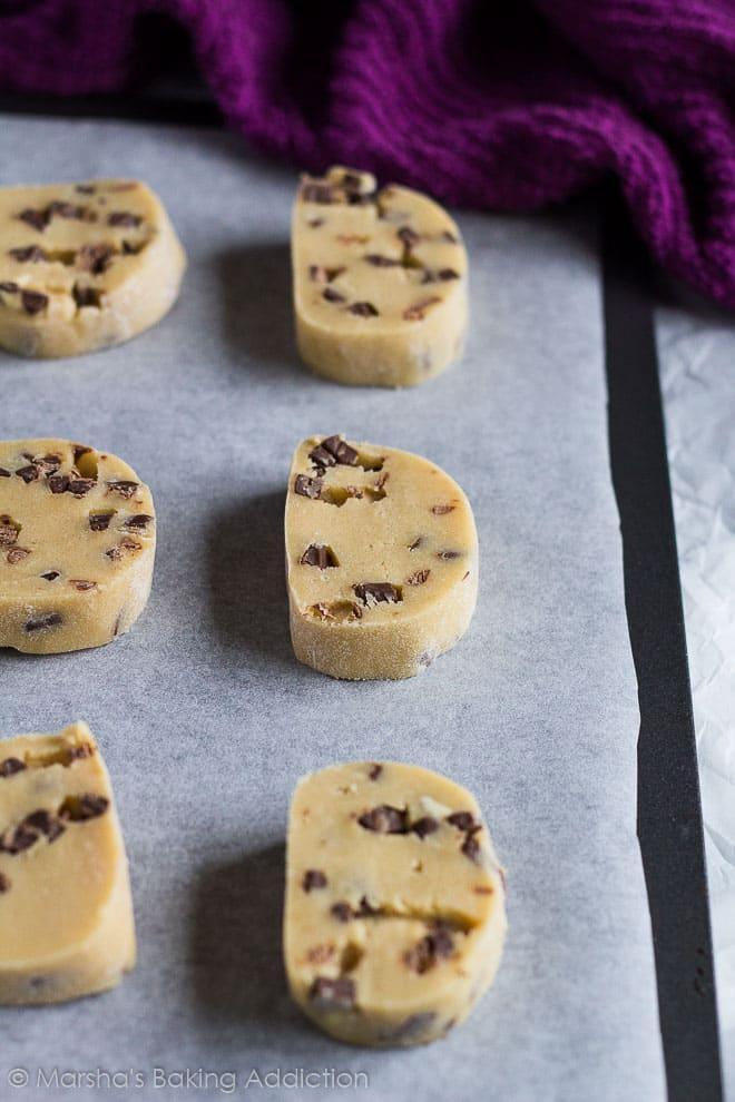 Chocolate Chip Slice 'n' Bake Cookies   marshasbakingaddiction.com @marshasbakeblog
