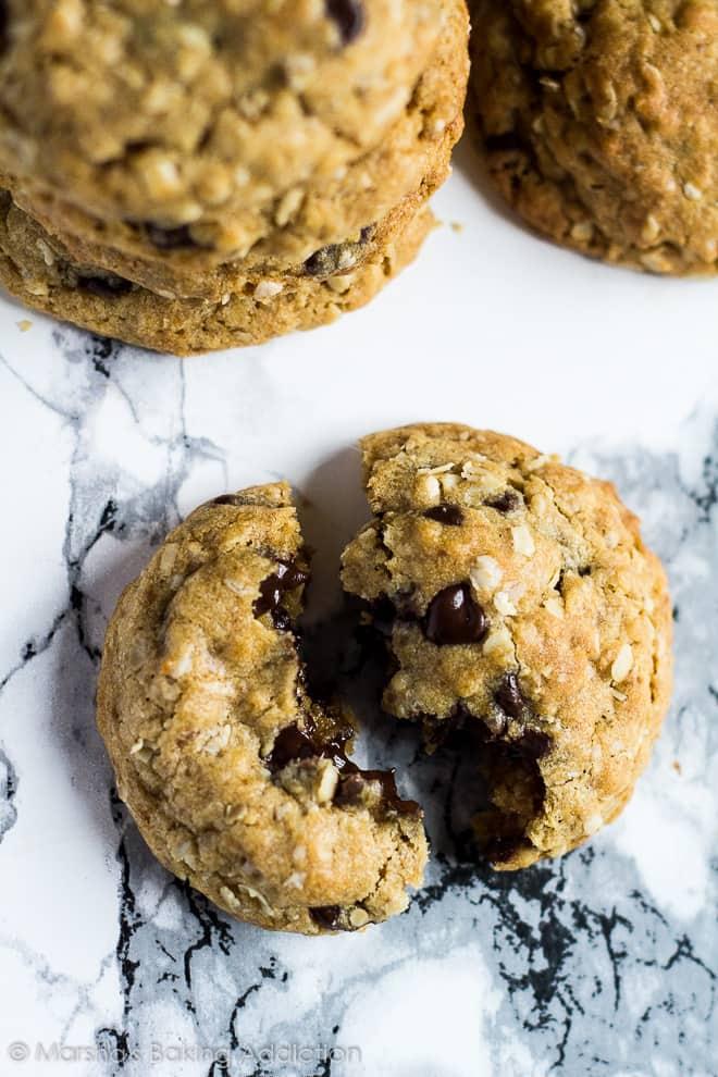 Healthier Chocolate Chip Cookies | marshasbakingaddiction.com @marshasbakeblog