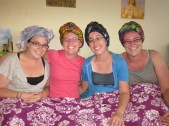 learning to tie head scarves like real Namibians