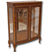 Reproduction Two Door Bow Front Display Cabinet in Yew and ...