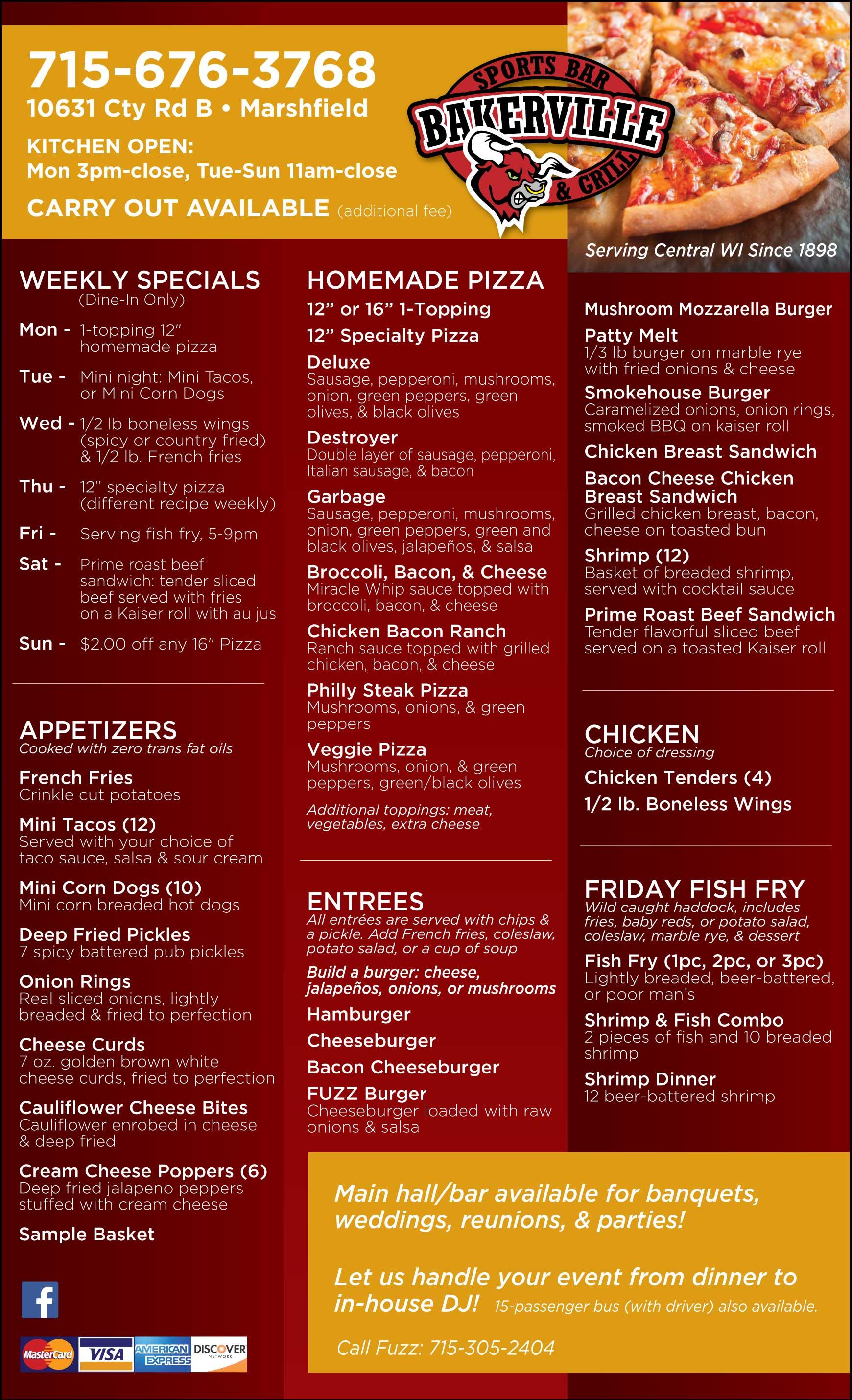 Bakerville Sports Bar  Casual Dining  Menu  Restaurant