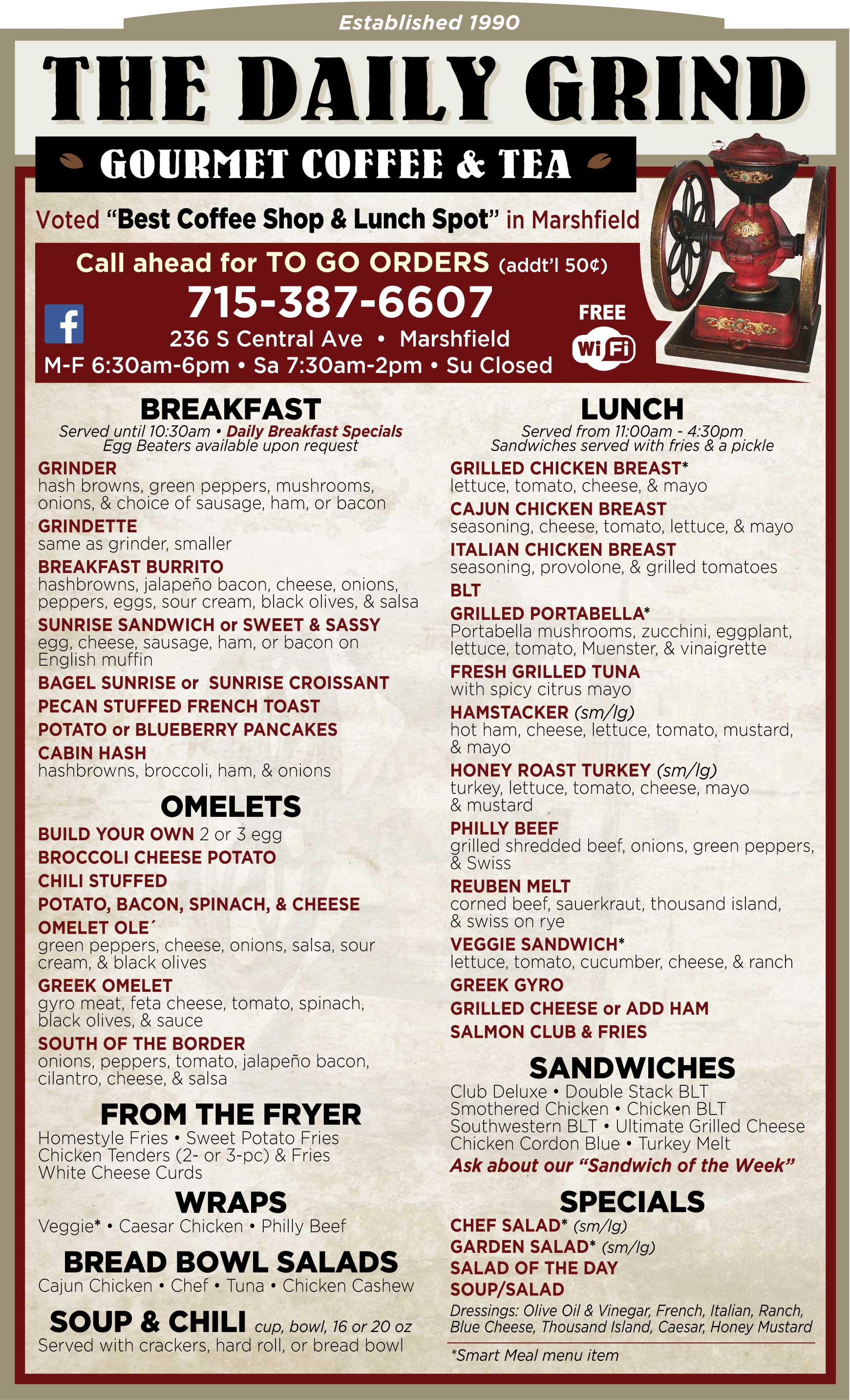 Daily Grind   Coffeehouse   Casual Dining   Menu   Restaurant ...