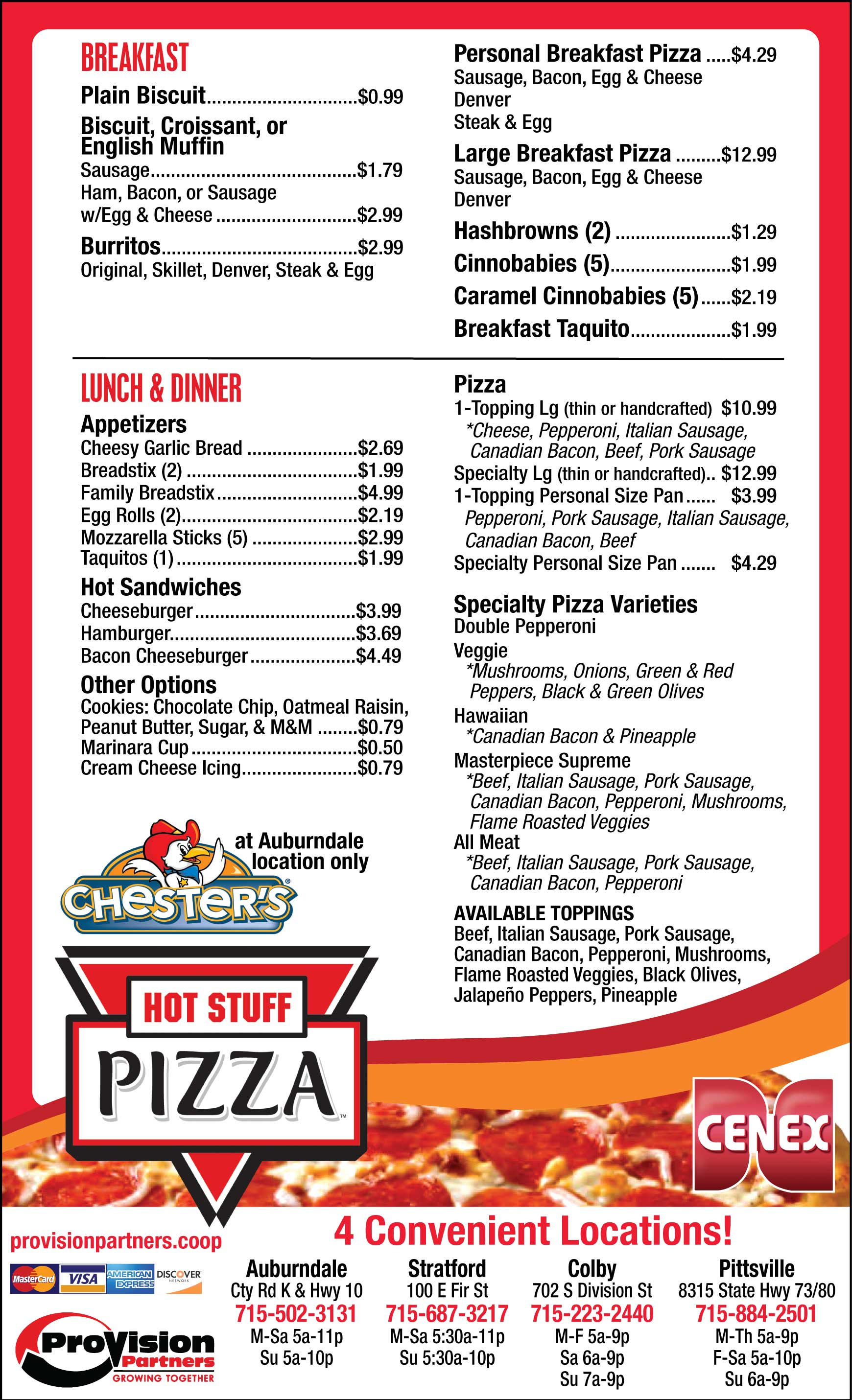 Hot Stuff Pizza Cenex Convenience Store Menu