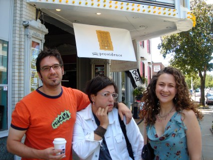 Tim Lagasse, Marsian De Lellis, and Heather Henson promoting Handmade Puppet Dreams at the Rhode Island Film Festival, 2006, Providence