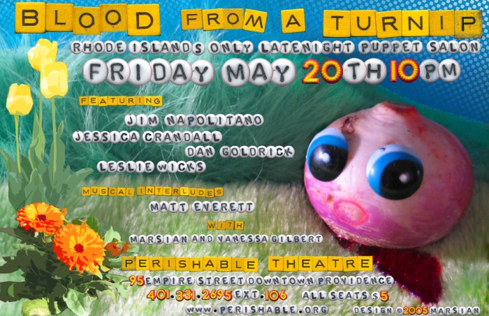 Blood from a Turnip, Providence, May 20th, 2005, poster: Marsian De Lellis