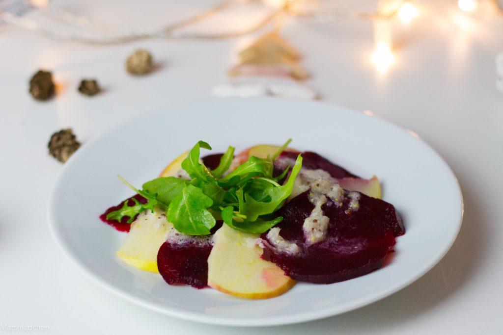Rote Bete Carpaccio - Veganes und glutenfreies Weihnachtsmenü