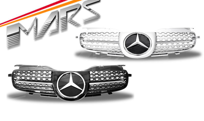 Silver AMG Style Bumper Bar GRILLE GRILL for Mercedes-Benz