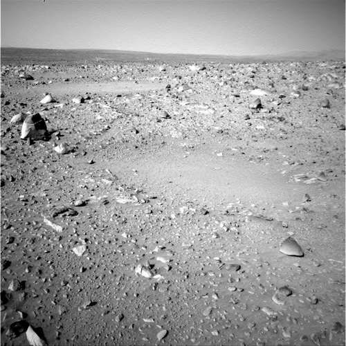 Left Navigation Camera Non-linearized Full frame EDR acquired on Sol 103 of Spirit's mission to Gusev Crater at approximately 15:01:41 Mars local solar time. NASA/JPL