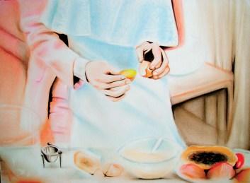 Yolk (2010) Dibujo, lápiz y pastel sobre papel. Medidas 24 x 32 cm. Film: Tampopo (1985) Dir. Juzo Itami