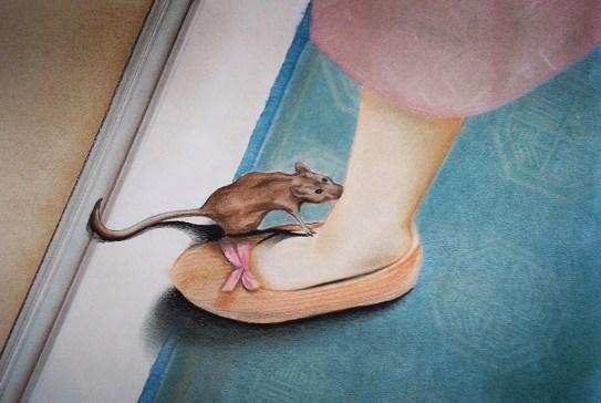 Killer Mouse (2012) Dibujo, lápiz y pastel sobre papel. Medidas 31,5 x 46,5 cm. Film: Serial Mom (1994) Dir. John Waters