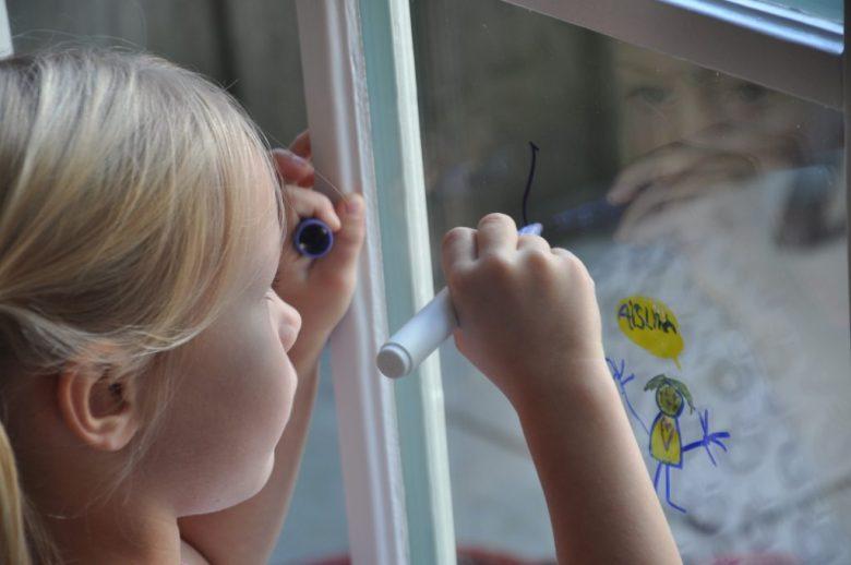 Zelf een tekening op het raam verzinnen was het allerleukst!