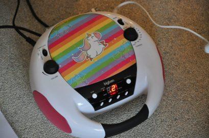 big ben roze en wit eenhoorn cd-speler