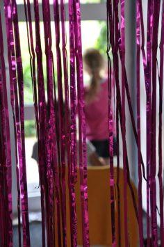 raamtekening maken glittergordijn