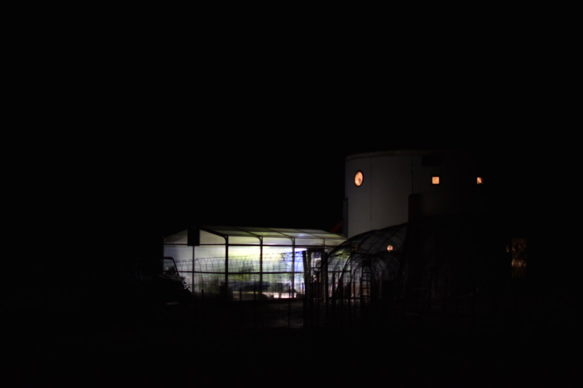 Picture of the MDRS and the greenhab at night.