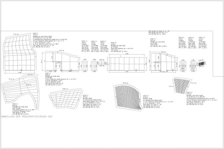 computerprogrammbasierende Zeichnungen für die Skulpturen von Christoph Weber in der Marta-Ausstellung der fremde Raum