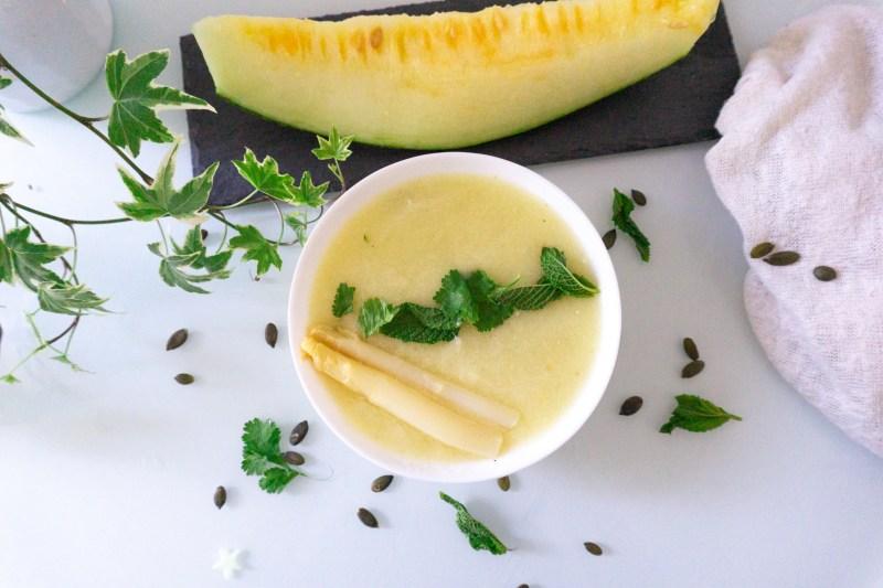 Receta vegana y sin gluten. Sopa fría de melón y espárragos - marta atram