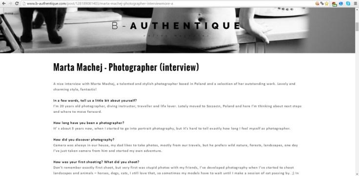 Wywiad dla B-Authetique