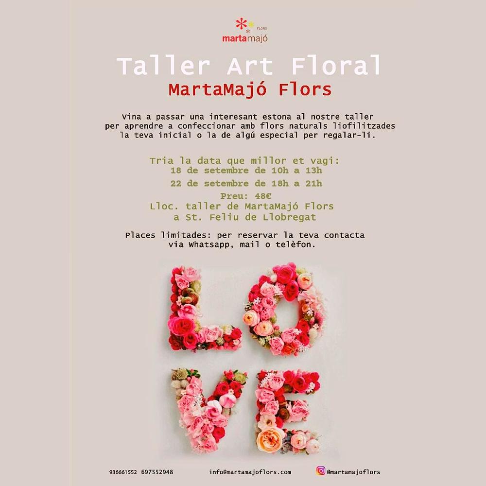 Taller de arte floral letras de flor liofilizada aprende crea floristeria flores plantas sant feliu de llobregat barcelona molins de rei