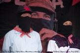 Parte del Comité Clandestino Revolucionario Indígena - Comandancia General del Ejército Zapatista de Liberación Nacional (CCR) estuvo presente durante la ceremonia. Comandante David (izquierda) y Comandanta Esther (derecha).