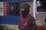 Milicianos zapatistas atentos durante todo el acto situados en varios puntos del Caracol de La Realidad.