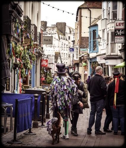 2016 Jack in the Green Morris Dancer Walking Dog George Street small