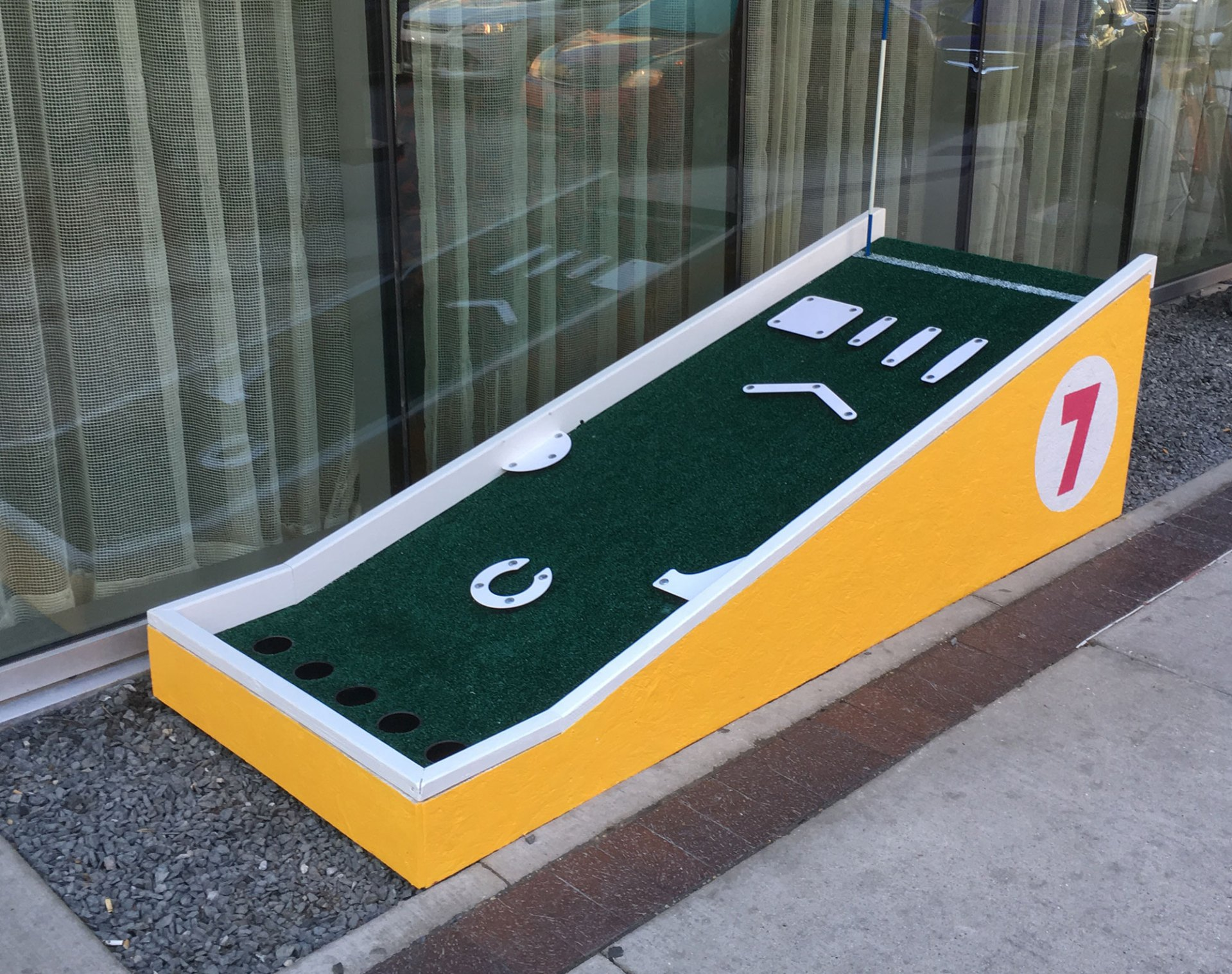 Side view of Mini Peg Golf Hole 7 at Alt Hotel
