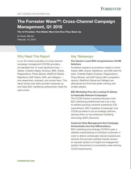 The Forrester Wave™ Cross-Channel Campaign Management, Q1 2018