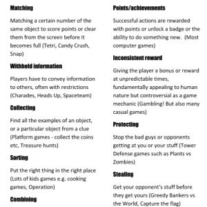 Game mechanics cards selection